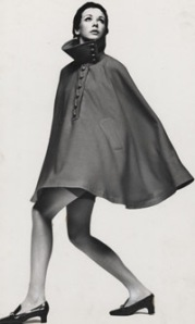 batescape cape with domed buttons designed by John Bates for Jean Varon 1960s