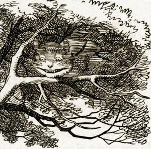 Cheshire Cat by John Tenniel. The Cheshire Cat disappears part by part, until only its smile is left.